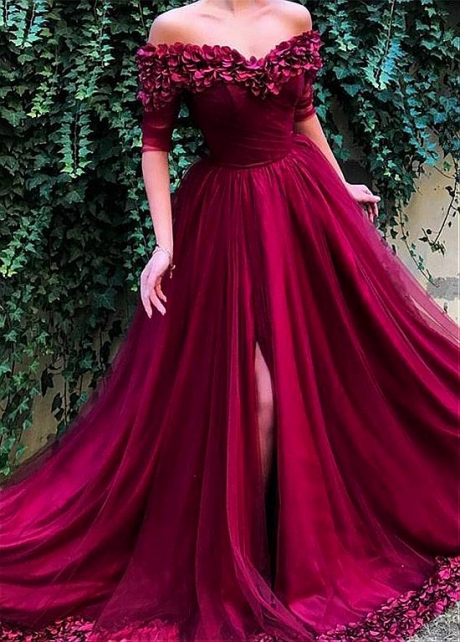 Exquisite Tulle Off-the-shoulder Neckline Floor-length A-line Evening Dresses With Handmade Flowers