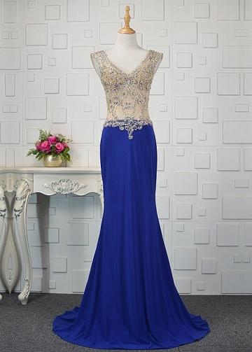 Romantic Tulle & Spandex V-neck Neckline Mermaid Prom Dresses With Beadings