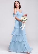 Beautiful Chiffon Spaghetti Straps Neckline Floor Length A-line Bridesmaid Dresses