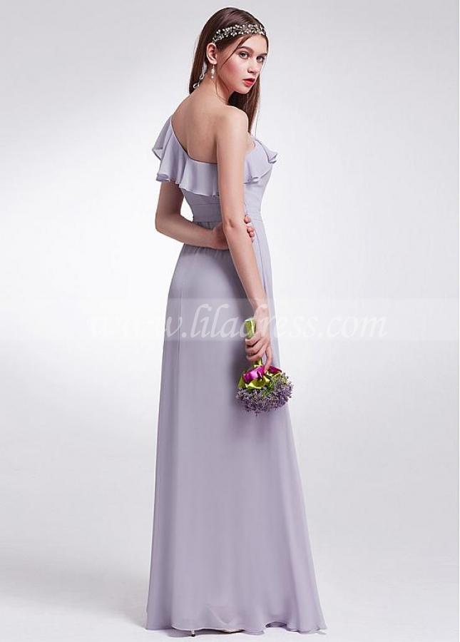 Enchanting Chiffon One Shoulder Neckline A-line Bridesmaid Dresses