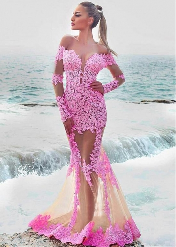 Eye-catching Tulle Off-the-shoulder Neckline Floor-length Mermaid Evening Dresses With Lace Appliques