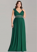 Enchanting Chiffon V-neck Neckline A-line Bridesmaid Dresses With Beadings
