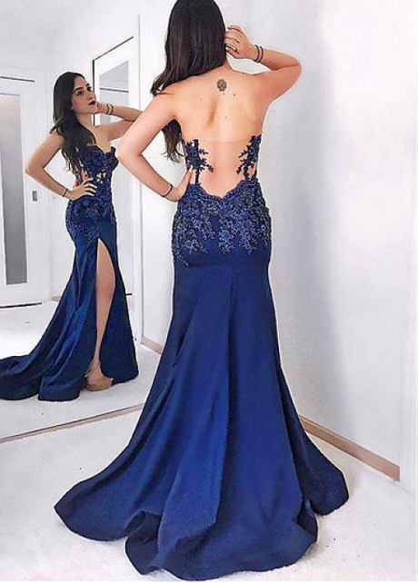 Wonderful Tulle & Satin Sweetheart Neckline Floor-length Mermaid Evening Dresses With Lace Appliques