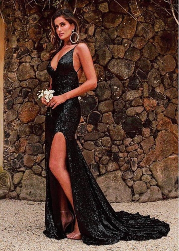 Wonderful Sequin Lace Spaghetti Staps Neckline Floor-length Mermaid Evening Dresses With Slit