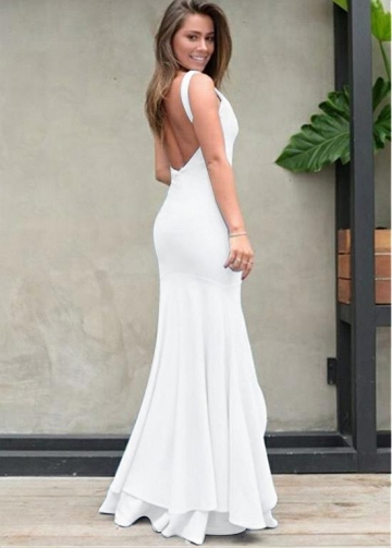 Marvelous V-neck Neckline Floor-length Mermaid Evening Dresses With Slit
