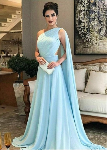 Chic Chiffon One Shoulder Neckline Floor-length A-line Evening Dress