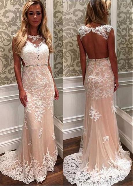 Attractive Tulle Jewel Neckline Floor-length Mermaid Evening / Wedding Dress With Open Back