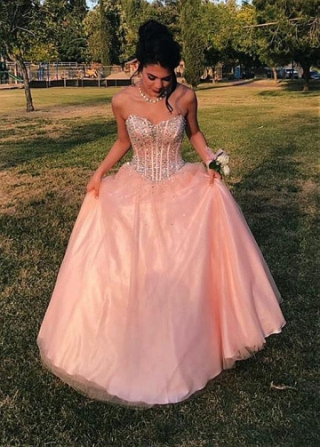 Attractive Tulle Sweetheart Neckline Floor-length A-line Prom Dress With Beadings