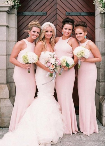 Lightsome Chiffon Jewel Neckline Sheath/Column Bridesmaid Dresses