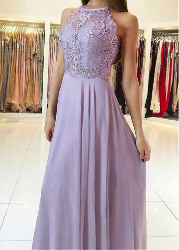 Romantic lace & Chiffon Jewel Neckline Floor-length A-line Prom Dress
