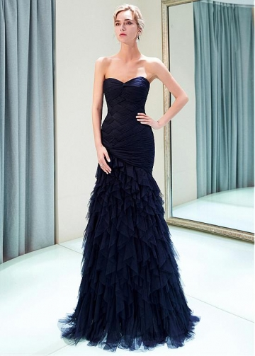 Elegant Tulle Sweetheart Neckline Mermaid Formal Dress With Ruffles