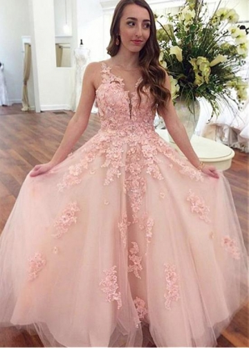 Romantic Tulle Jewel Neckline A-line Prom Dress With Beaded Lace Appliques