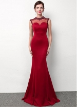 Red Illusion High Neckline Floor-length Mermaid Formal Dress