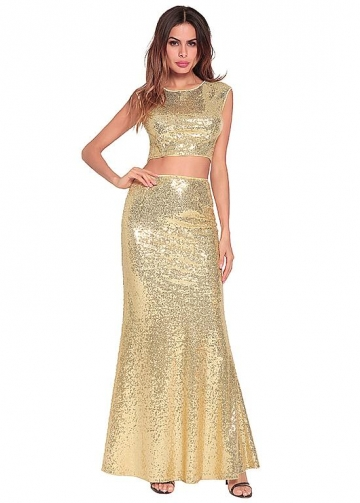 Sparkling Sequin Lace Jewel Neckline Two-piece Mermaid Prom Dress