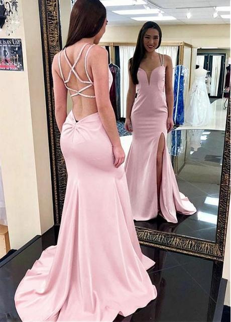 Pink Spaghetti Straps Neckline Mermaid Prom Dress with Slit