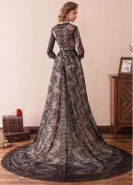 Chic Lace Jewel Neckline 3/4 Length Sleeves A-line Evening Dress With Belt