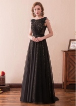 Charming Lace & Tulle Bateau Neckline A-line Evening Dress With Beadings