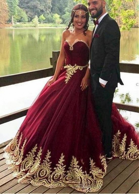 Beautiful Tulle Sweetheart Neckline Ball Gown Evening Dress With Lace Appliques & Beadings