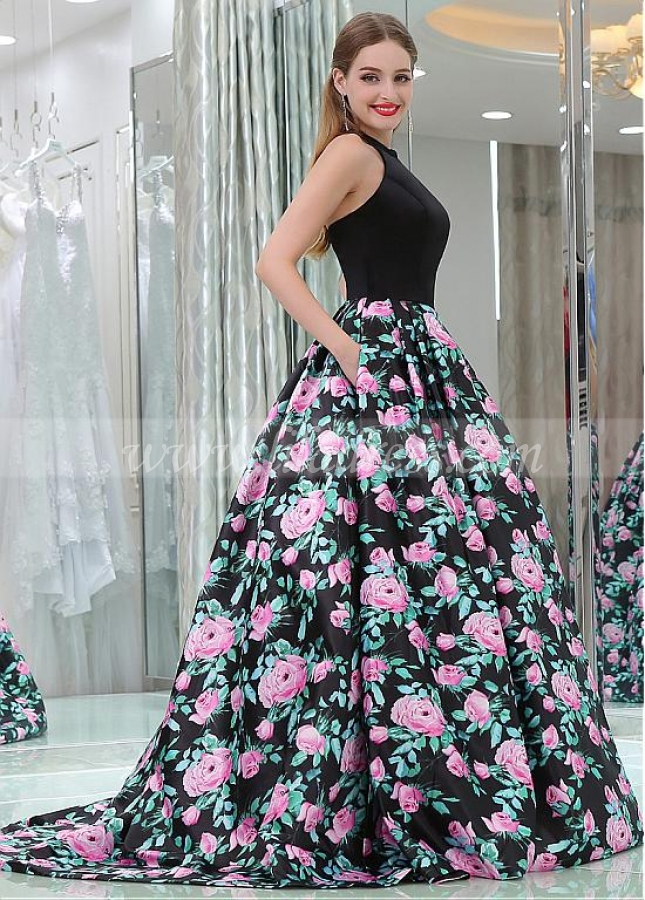 Outstanding Satin Jewel Neckline Floor-length A-line Formal Dresses With Pockets