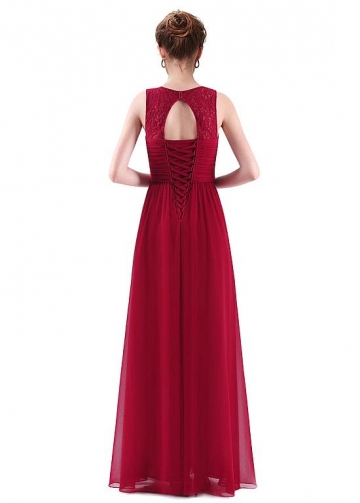 Absorbing Lace & Chiffon V-neck Neckline Cut-out A-line Prom Dresses With Pleats