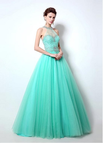 Marvelous Tulle Halter Neckline Cut-out Back A-Line Prom Dresses With Beadings