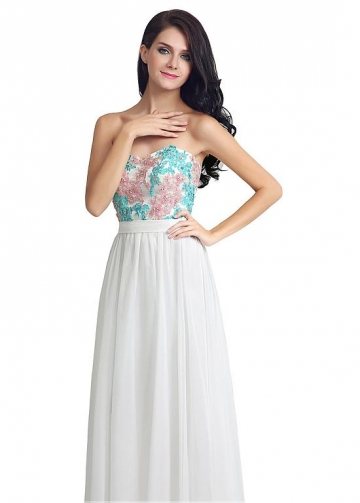 Alluring Chiffon Sweetheart Neckline A-line Prom Dresses With Lace Appliques