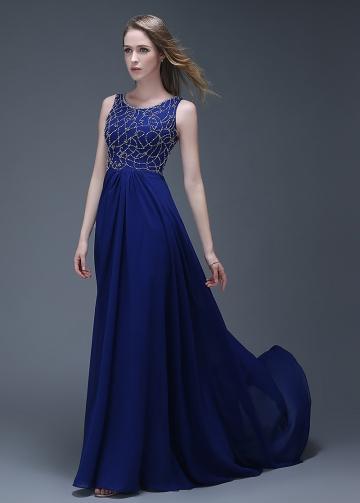 Elegant Chiffon Scoop Neckline Full-length A-line Prom Dresses