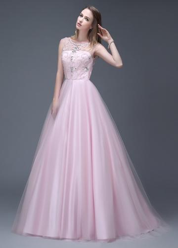 Glamorous Tulle Bateau Neckline Full-length A-line Prom Dresses