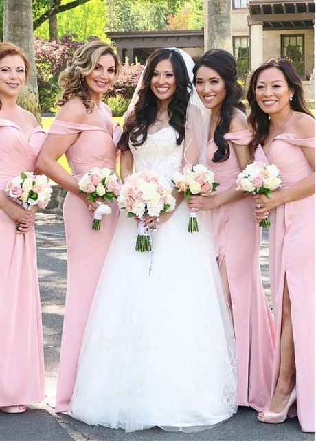 Modest Pink Off-the-shoulder Neckline Sheath/Column Bridesmaid Dresses