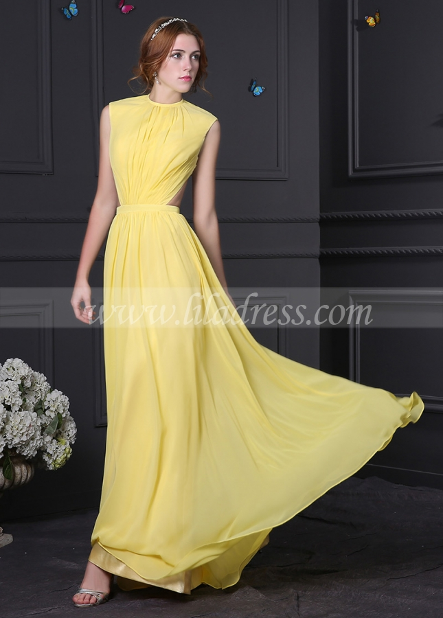 Junoesque Chiffon High Collar Neckline A-Line Formal Dresses