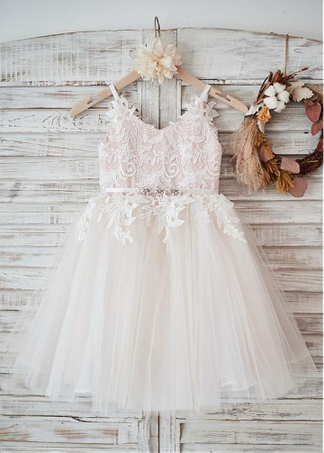 Stunning Lace & Tulle & Satin V-neck Neckline Ball Gown Flower Girl Dresses