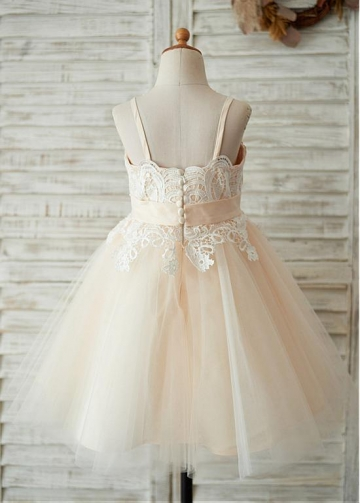 Sweet Lace & Tulle Spaghetti Straps Neckline A-line Flower Girl Dresses With Bowknot