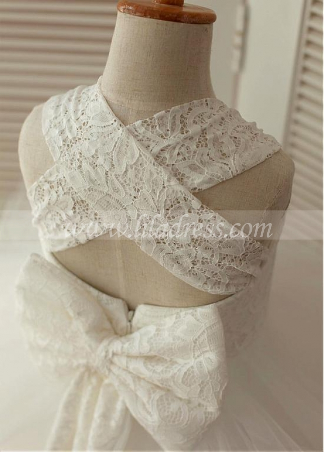 Pure Lace & Tulle Square Neckline Ankle-length Ball Gown Flower Girl Dresses With Bowknot