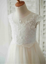 Marveous Tulle Jewel Neckline Tea-length A-line Flower Girl Dresses With Beaded Lace Appliques