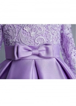 Elegant Satin & Lace Jewel Neckline A-line Flower Girl Dresses With Bowknots