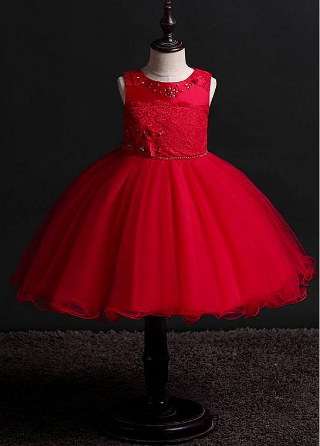 Modern Tulle & Lace Jewel Neckline A-line Flower Girl Dresses With Beadings