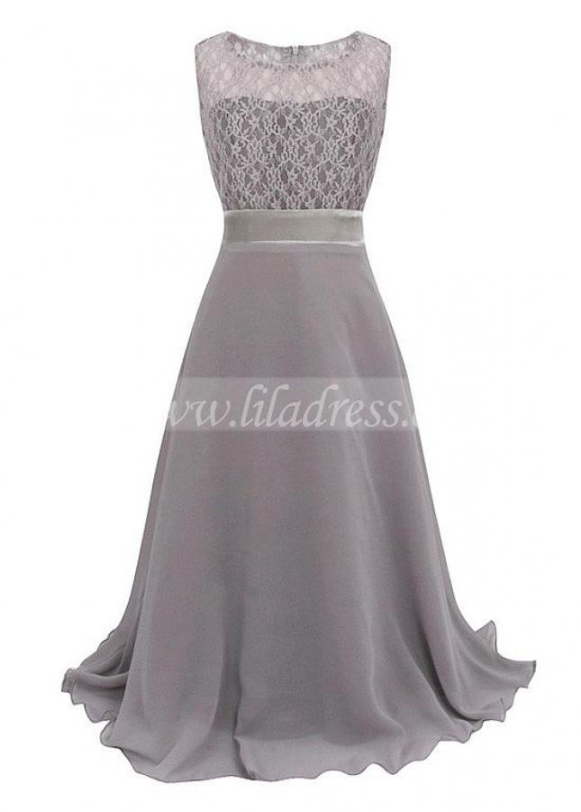 Stunning Lace & Chiffon Bateau Neckline A-line Flower Girl / Junior Bridesmaid Dresses