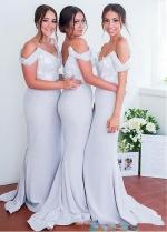 Wonderful Satin Off-the-shoulder Neckline Mermaid Bridesmaid Dresses