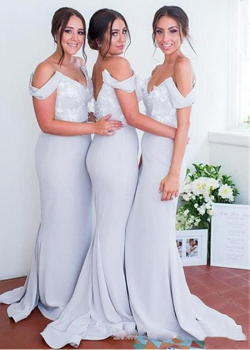 Wonderful Satin Off-the-shoulder Neckline Mermaid Bridesmaid Dresses