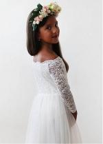 Elegant Tulle & Lace Off-the-shoulder Neckline Full-length A-line Flower Girl Dresses