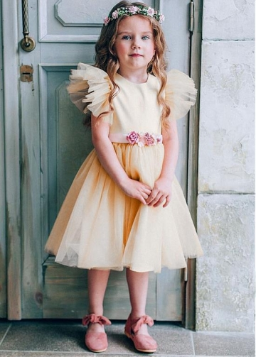Fashionable Tulle & Satin Jewel Neckline A-line Flower Girl Dresses With Belt & Handmade Flowers