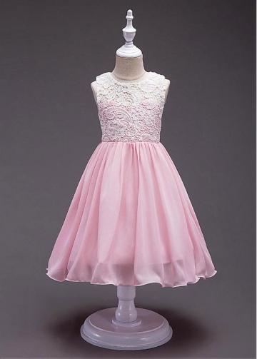 Marvelous Lace & Chiffon Jewel Neckline A-line Flower Girl Dress