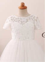 Modest Tulle & Lace Jewel Neckline A-line Flower Girl Dress