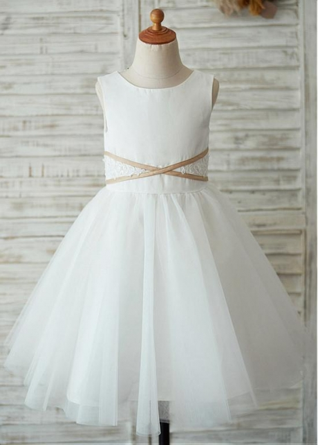Popular Satin & Lace Scoop Neckline Knee-length A-line Flower Girl Dresses With Beadings