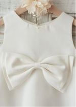 Fabulous Satin & Organza Jewel Neckline Knee-kength A-line Flower Girl Dresses With Bowknot