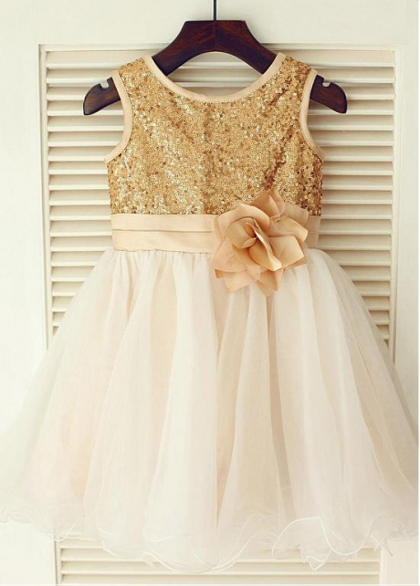 Chic Sequin Lace & Tulle Jewel Neckline Knee-length Ball gown Flower Girl Dresses With Handmade Flowers