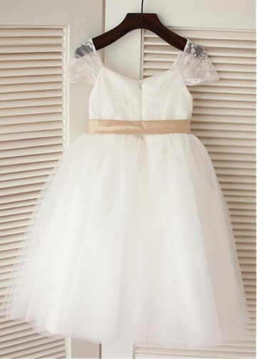 Fantastic Lace & Tulle Tea-length Ball Gown Flower Girl Dresses With Belt