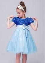 Unique Sequin Lace Jewel Neckline A-Line Flower Girl Dresses With Bowknot