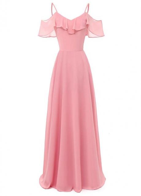 Fabulous Chiffon Spaghetti Straps Neckline A-line Bridesmaid Dress