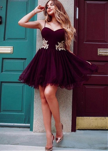 Gorgeous Tulle & Satin Spaghetti Straps Neckline Short A-line Homecoming Dresses With Lace Appliques & Rhinestones